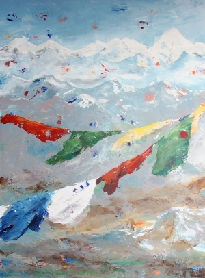 Contemporary Artwork by E-Moderne Gallerie - Prayer Flags on the Himalayas