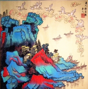 Contemporary Artwork by Yang Xiyuan - A Poetic Painting of Tang Dynasty