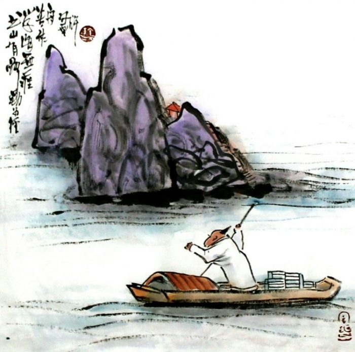 Lin Xinghu's Contemporary Chinese Painting - Diligence is the Path to the Mountain of Knowledge; Hard-working is the Boat to the Endless Sea of Learning