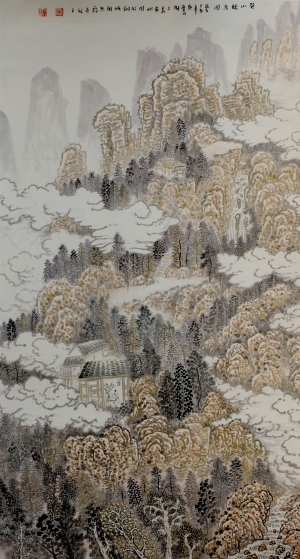 Contemporary Artwork by Liu Yuzhu - Listening to the Birds Singing in the Green Mountain
