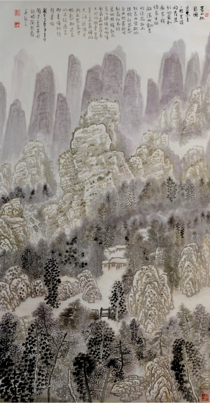 Contemporary Artwork by Liu Yuzhu - Pondering on the Green Mountain