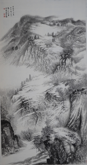 Contemporary Artwork by Liu Yuzhu - Snow Covering Mountains