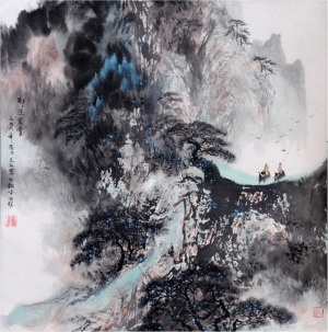 Contemporary Artwork by Liu Yuzhu - Morning Fog over Qilian Mountain