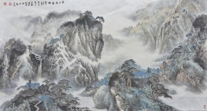 Contemporary Artwork by Liu Yuzhu - Plunging Waterfall from the Green Mountain