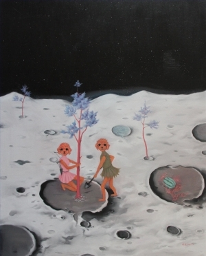Contemporary Artwork by Li Tongfa - Forest Peace Conference Series Journey to The Moon