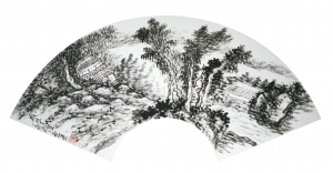 Contemporary Artwork by Hefeng Hall Gallery - Chinese Landscape On a Fan