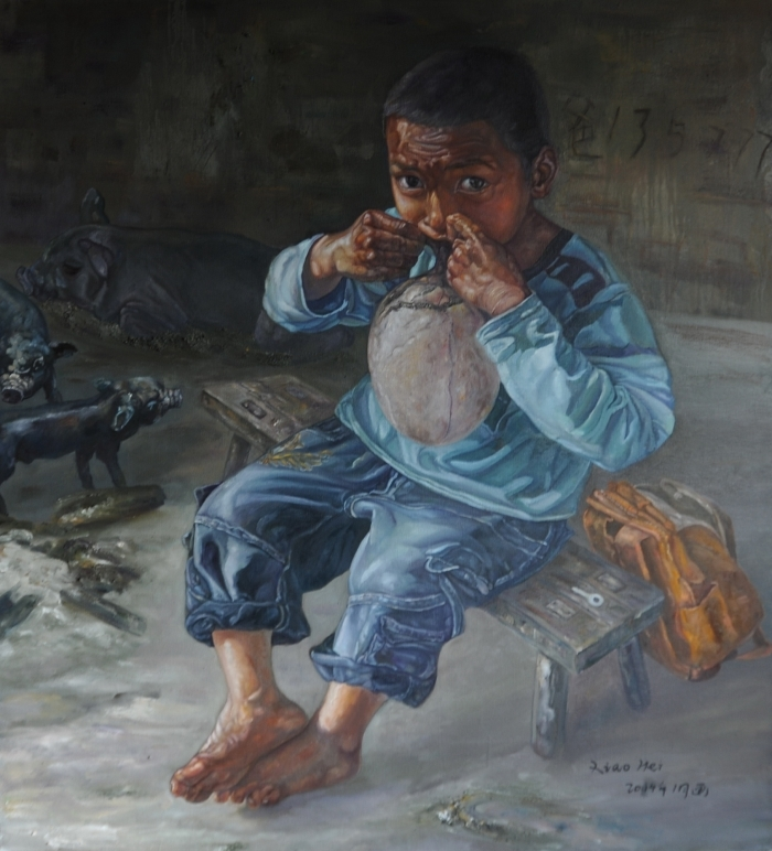 Cai Renchuang's Contemporary Oil Painting - The Hani Boy