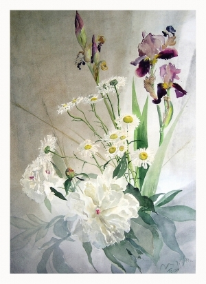 Contemporary Paintings - Peonies and Irises