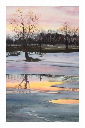 Contemporary Paintings - Spring sunset