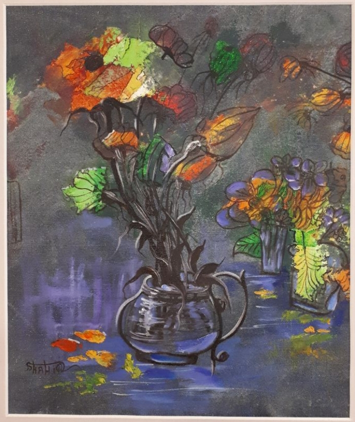 Jafar Pour Danandeh Shahir's Contemporary Oil Painting - A Bouquet of Flowers III