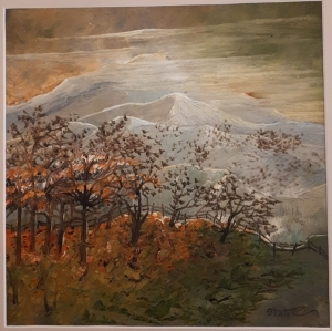 Contemporary Oil Painting - Autumn Towards Mount