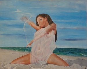 Contemporary Oil Painting - Amphretite loosing her cloths