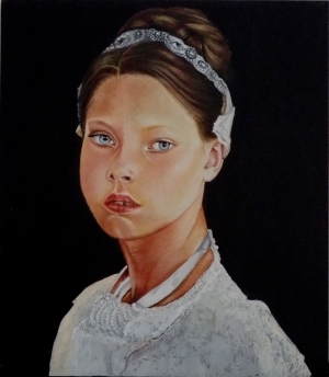 Contemporary Oil Painting - Girl with Necklace