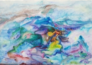 Contemporary Artwork by Chen Xionggen - Strikes of Colors - Sea and Mountains in Blue