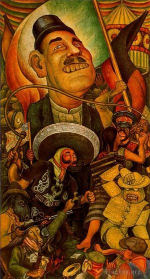 Carnival of mexican life dictatorship 1936 - Contemporary Various Paintings Art