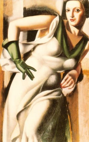 Woman with a green glove 1928 - Contemporary Oil Painting Art