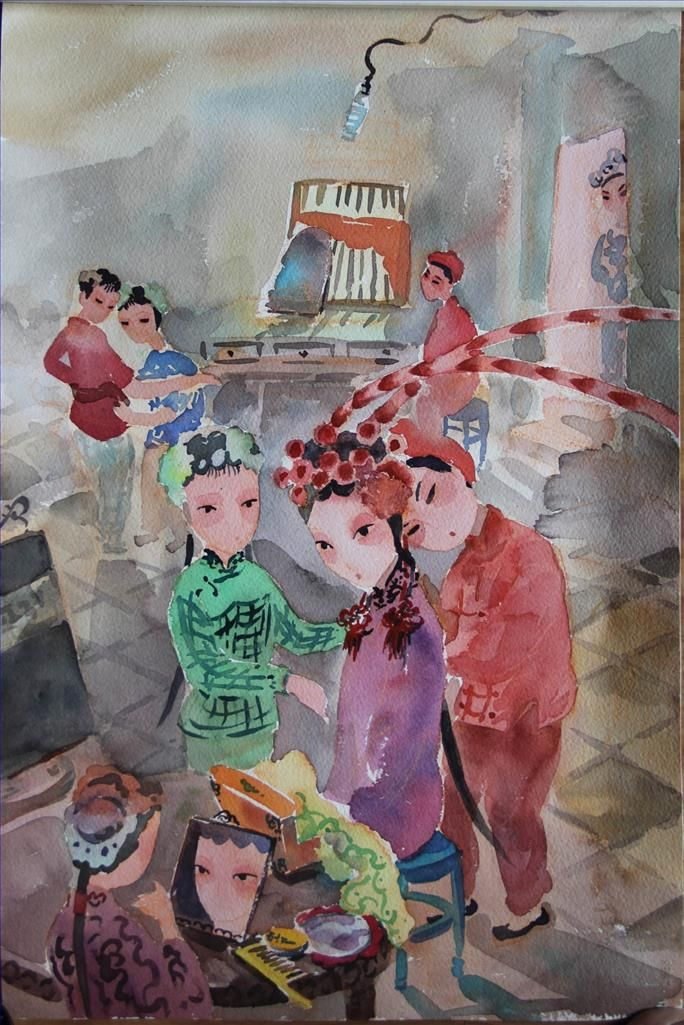 Chen Yuxiao's Contemporary Various Paintings - Put on Makeup