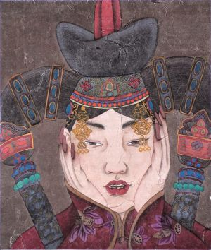 Woman of Mongolia Nationality - Contemporary Chinese Painting Art