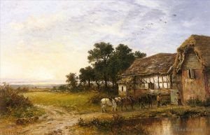 Antique Oil Painting - Returning Home