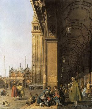 Antique Oil Painting - Venice Piazza San Marco and the Colonnade of the Procuratie Nuove