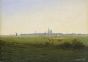 Antique Oil Painting - Meadows Near Greifswald