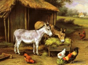 Antique Oil Painting - Chickens And Donkeys Feeding Outside A Barn