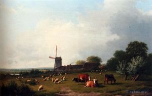 Antique Oil Painting - A Panoramic Summer Landscape With Cattle Grazing In A Meadow