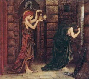 Antique Oil Painting - Hope in the Prison of Despair