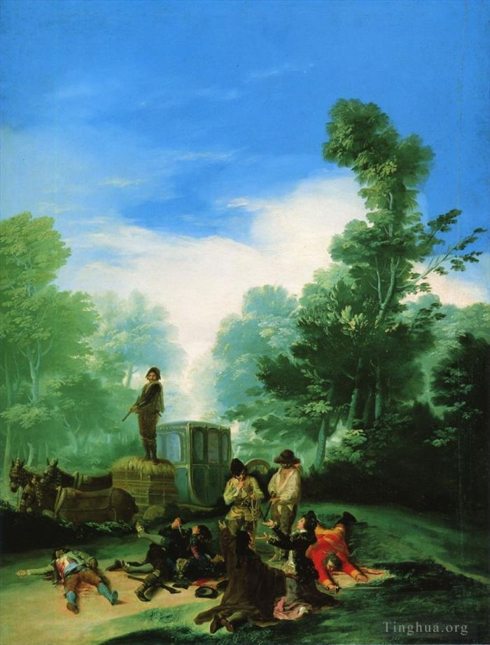 Francisco Goya Oil Painting - Highwaymen Attacking a Coach (Robbery of the coach)