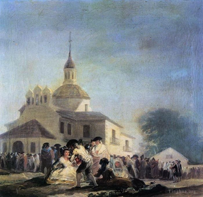 Francisco Goya Oil Painting - Pilgrimage to the Church of San Isidro
