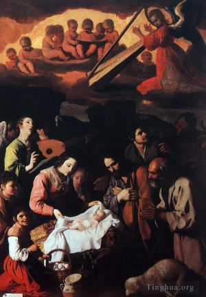 Antique Oil Painting - The Adoration of the Shepherds