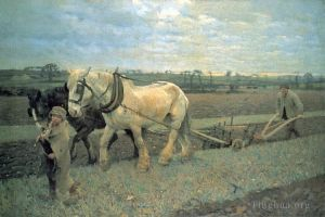 Antique Oil Painting - Ploughing