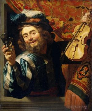 Antique Oil Painting - Fiddler