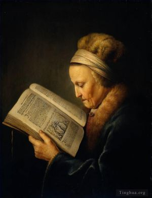 Antique Oil Painting - Old Woman Reading a Lectionary