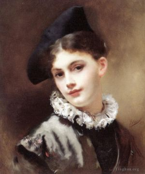 Antique Oil Painting - A Coquettish Smile