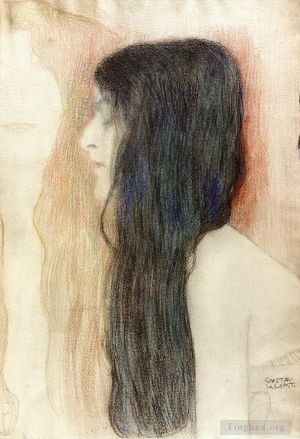 Antique Oil Painting - Girl with Long Hair with a sketch for Nude Veritas