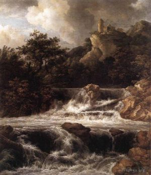 Antique Oil Painting - Waterfall With Castle Built On The Rock