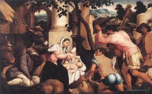 Antique Oil Painting - Adoration Of The Shepherds