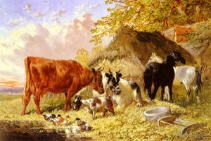 Antique Oil Painting - Horses Cows Ducks and a Goat By A Farmhouse