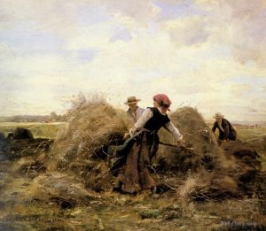 Antique Oil Painting - The Harvesters