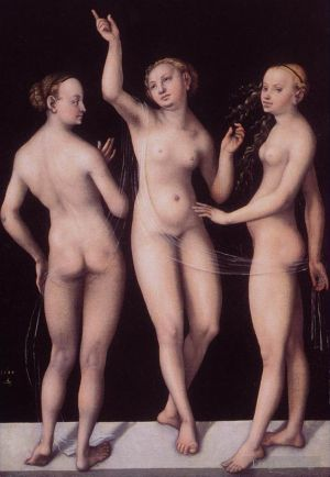 Antique Oil Painting - The Three Graces