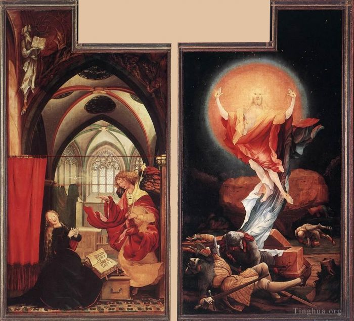 Matthias Grunewald Oil Painting - Annunciation and Resurrection