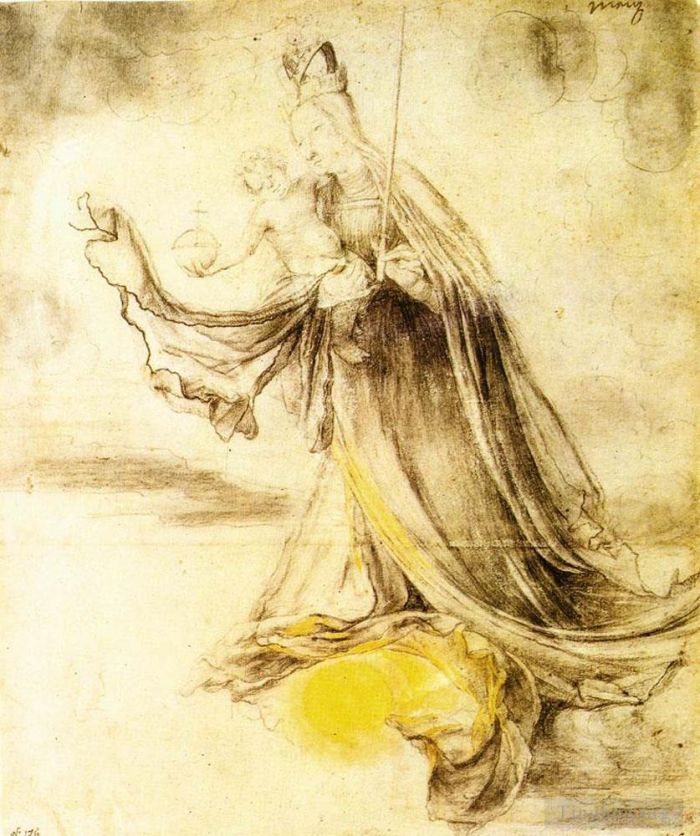 Matthias Grunewald Various Paintings - Mary with the Sun below her Feet