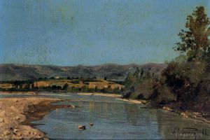 Antique Oil Painting - The Banks of the Durance at Puivert