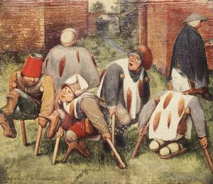 Antique Oil Painting - The Beggars