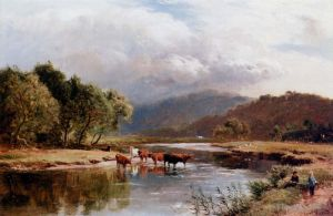 Antique Oil Painting - The Ponway Trefew North Wales