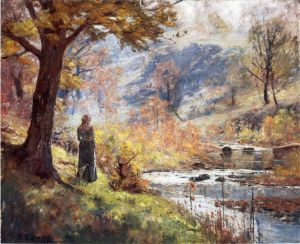 Antique Oil Painting - Morning by the Stream