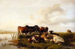 Antique Oil Painting - The Lowland Herd