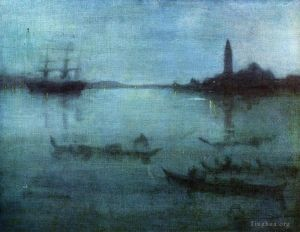 Antique Oil Painting - Blue and Silver Nocturne in Blue and Silver The Lagoon Venice