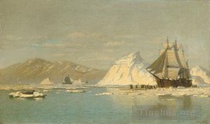 Antique Oil Painting - Off Greenland
